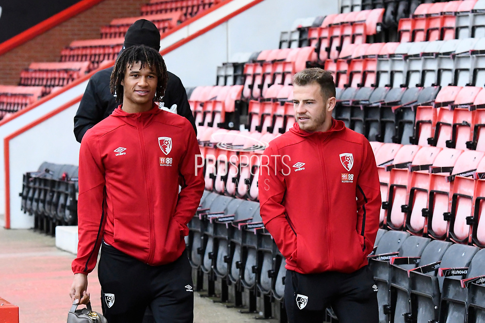 Nathan Ake (5) of AFC Bournemouth and Ryan Fraser (24) of AFC Bournemouth arrive ahead of the Premier League match between Bournemouth and Wolverhampton Wanderers at the Vitality Stadium, Bournemouth, England on 23 November 2019.