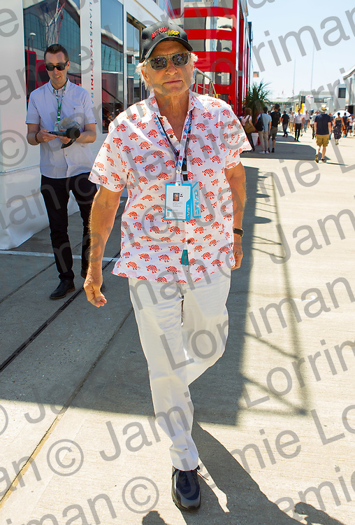 The 2018 Formula 1 F1 Rolex British grand prix, Silverstone, England. Sunday 8th July 2018.<br /> <br /> Pictured: Actor Michael Douglas walks in the paddock ahead of the race at Silverstone.<br /> <br /> Jamie Lorriman<br /> mail@jamielorriman.co.uk<br /> www.jamielorriman.co.uk<br /> 07718 900288