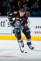 KELOWNA, CANADA - SEPTEMBER 24: Riley Stadel #3 of the Kelowna Rockets skates with the puck against the Kamloops Blazers on September 24, 2016 at Prospera Place in Kelowna, British Columbia, Canada.  (Photo by Marissa Baecker/Shoot the Breeze)  *** Local Caption *** Riley Stadel;