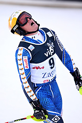 06.01.2013, Crveni Spust, Zagreb, CRO, FIS Ski Alpin Weltcup, Slalom, Herren, 1. Lauf, im Bild Mattias Hargin (SWE) // Mattias Hargin of Sweden reacts // after his 1st Run of the mens Slalom of the FIS ski alpine world cup at Crveni Spust course in Zagreb, Croatia on 2013/01/06. EXPA Pictures © 2013, PhotoCredit: EXPA/ Pixsell/ Michal Glebov..***** ATTENTION - for AUT, SLO, SUI, ITA, FRA only *****