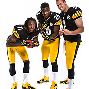 Pittsburg Steelers wide receiver Markus Wheaton (11), running back Le'Veon Bell (26) and quarterback Landry Jones (3) poses for a portrait during the NFLPA Rookie Premiere on Saturday, May 18, 2013 in Pasadena, Calif. (Ric Tapia/AP Images for NFL PLAYERS)