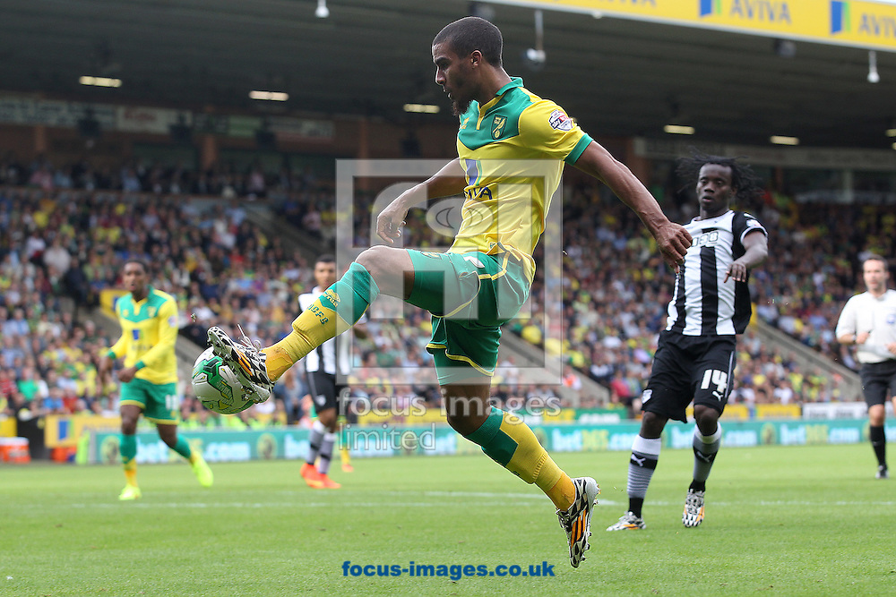Lewis Grabban of Norwich in action during the Sky Bet Championship match at Carrow Road, Norwich<br /> Picture by Paul Chesterton/Focus Images Ltd +44 7904 640267<br /> 16/08/2014
