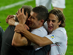 10.09.2013, Stamford Bridge, Cardiff, ENG, FIFA WM Qualifikation, Wales vs Serbien, Rueckspiel, im Bild Serbia's Aleksandar Kolarov, centre, celebrates with manager Sinisa Mihajlovic, left, during the FIFA World Cup Qualifier second leg Match between Wales and Serbia at the Stamford Bridge stadium in Cardiff, Great Britain on 2013/09/10. EXPA Pictures © 2013, PhotoCredit: EXPA/ Propagandaphoto/ Tom Hevezi<br /> <br /> ***** ATTENTION - OUT OF ENG, GBR, UK *****