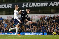 Seamus Coleman of Everton is challenged by Roberto Soldado of Tottenham Hotspur - Photo mandatory by-line: Rogan Thomson/JMP - 07966 386802 - 30/11/2014 - SPORT - FOOTBALL - London, England - White Hart Lane - Tottenham Hotspur v Everton - Barclays Premier League.