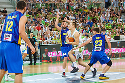Klemen Prepelic of Slovenia and Mirza Ahmetbasic and Jaren Sina of Kosovo during qualifying match between Slovenia and Kosovo for European basketball championship 2017,  Arena Stozice, Ljubljana on 31th August, Slovenia. Photo by Grega Valancic / Sportida