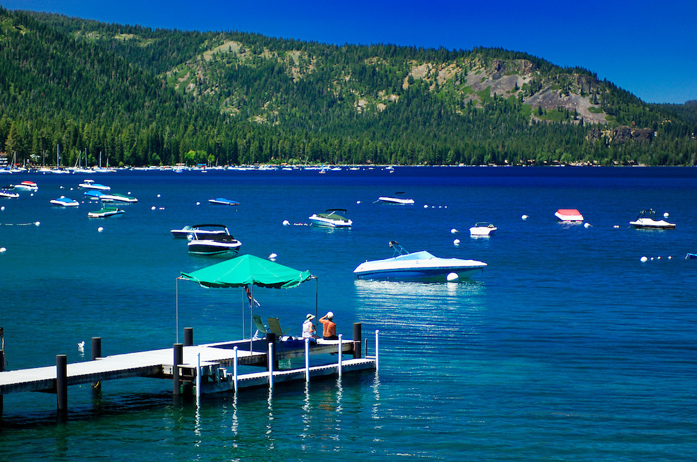People on Pier at McKinney Bay, Lake Tahoe, Tahoe City, California, United States of America