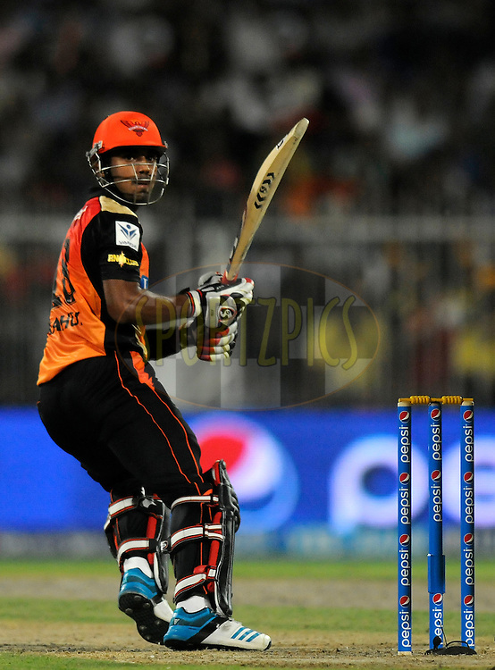 K.L Rahul of the Sunrisers Hyderabad bats during match 16 of the Pepsi Indian Premier League 2014 between the Delhi Daredevils and the Mumbai Indians held at the Sharjah Cricket Stadium, Sharjah, United Arab Emirates on the 27th April 2014<br /> <br /> Photo by Pal Pillai / IPL / SPORTZPICS