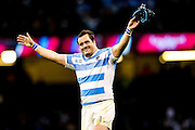 Marcos Ayerza of Argentina acknowledges the crowd at the final whistle during the Rugby World Cup Quarter Final match between Ireland and Argentina at Millennium Stadium, Cardiff, Wales on 18 October 2015. Photo by Shane Healey.