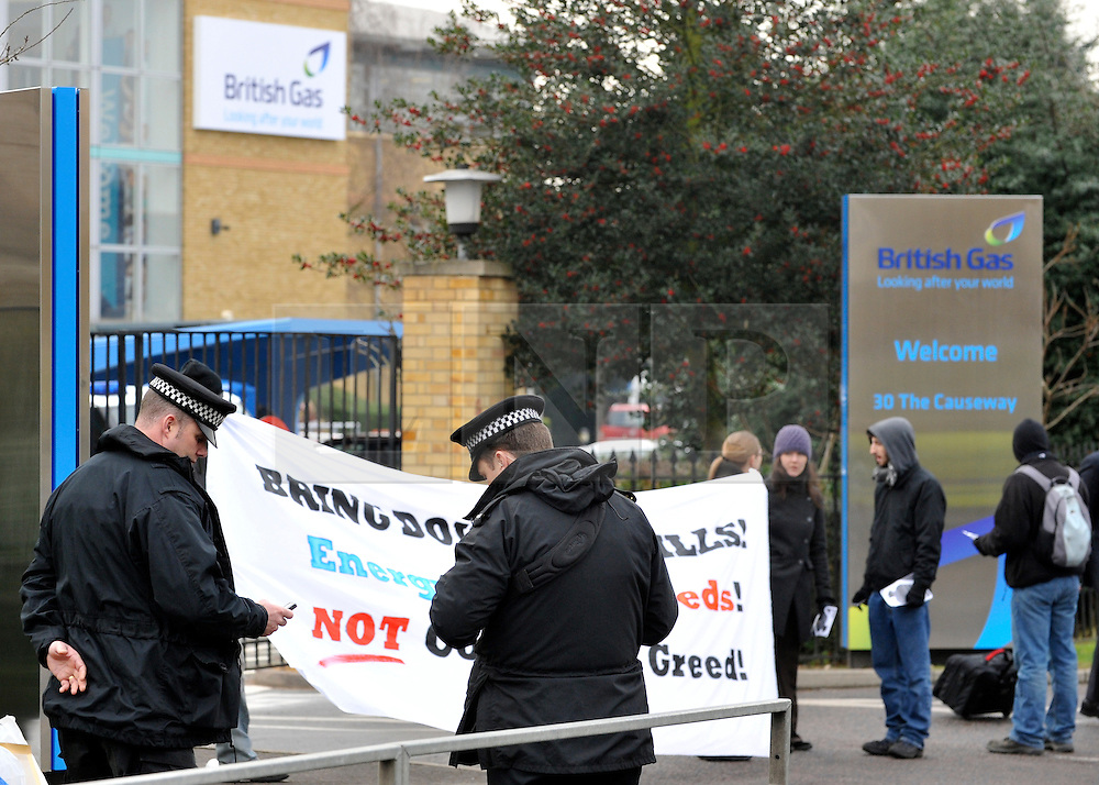 © Licensed to London News Pictures. 30/01/2012, Staines, UK. The scene outside the building. 6 activists have barricaded themselves into meeting rooms on two floors of British Gas offices in Staines, Middlesex, as part of the 'Winter Warm-Up' weekend called by the campaign group Fuel Poverty Action. British Gas is being targeted as one of the Big Six energy companies making profits out of rising energy bills.   Photo credit : Stephen Simpson/LNP