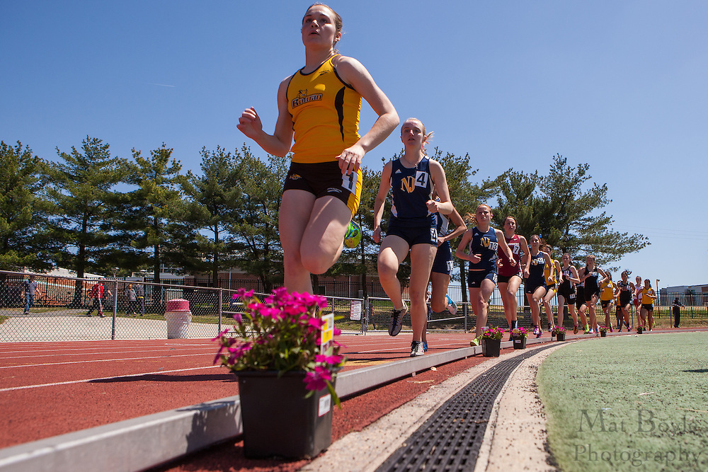 Rowan University's Megan Borz Mendez competes in the women's 5000 meter at the NJAC Track and Field Championships at Richard Wacker Stadium on the campus of  Rowan University  in Glassboro, NJ on Sunday May 5, 2013. (photo / Mat Boyle)
