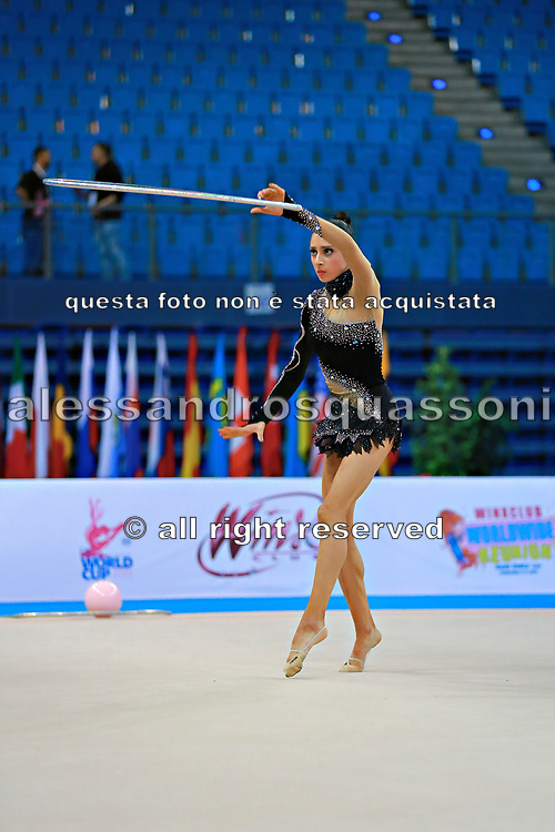 Shafizada Gulsum during qualifying at hoop in Pesaro World Cup at Adriatic Arena on April 10, 2015. Gulsum was born in Baku on November 08, 1998. She is a rhythmic gymnast member of the Azerbaijan National Team.