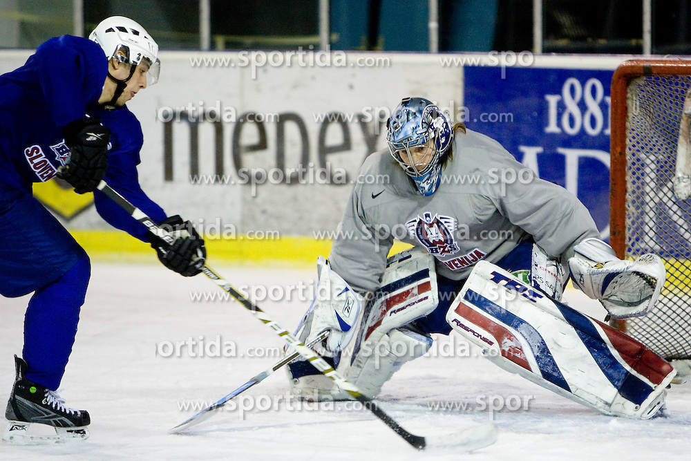 Ziga Pance vs Goalkeeper Robert Kristan at third practice of Slovenian National Ice hockey team before World championship of Division I - group B in Ljubljana, on April 6, 2010, in Hala Tivoli, Ljubljana, Slovenia.  (Photo by Vid Ponikvar / Sportida)
