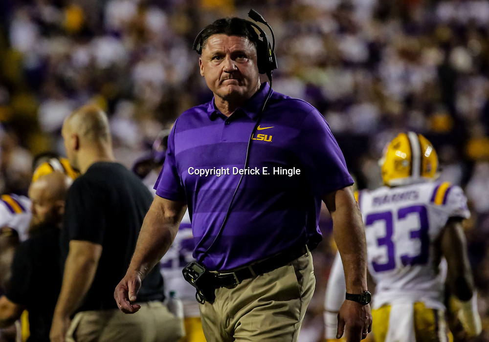 Nov 3, 2018; Baton Rouge, LA, USA; LSU Tigers head coach Ed Orgeron during the first quarter against the Alabama Crimson Tide at Tiger Stadium. Mandatory Credit: Derick E. Hingle-USA TODAY Sports