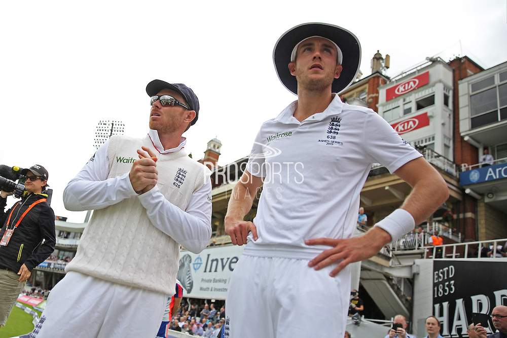 Ian Bell of England  and Stuart Broad of England during the 1st day of the 5th Investec Ashes Test match between England and Australia at The Oval, London, United Kingdom on 20 August 2015. Photo by Phil Duncan.