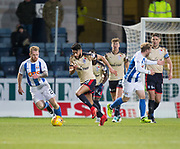 18th November 2017, Dens Park, Dundee, Scotland; Scottish Premier League football, Dundee versus Kilmarnock; Dundee's Faissal El Bakhtaoui and Kilmarnock's Stephen O'Donnell