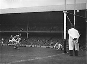 Cork's T.Burke, puts the ball into net but goal disallowed during the All Ireland Minor Gaelic Football Final Cork v. Galway in Croke Park on the 26th September 1960.