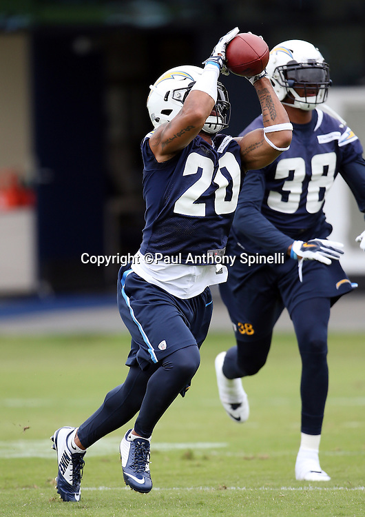 San Diego Chargers safety Dwight Lowery (20) catches a pass during the Chargers 2016 NFL minicamp football practice held on Tuesday, June 14, 2016 in San Diego. (©Paul Anthony Spinelli)