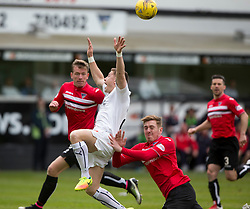 Dunfermline's Lewis Martin brings down Falkirk's John Baird and is sent off. Dunfermline 1 v 2 Falkirk, Scottish Championship game played 22/4/2017 at Dunfermline's home ground, East End Park.