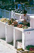 Trader at traditional vegetable food market, Lanzarote, Canary Islands, Spain, 1979