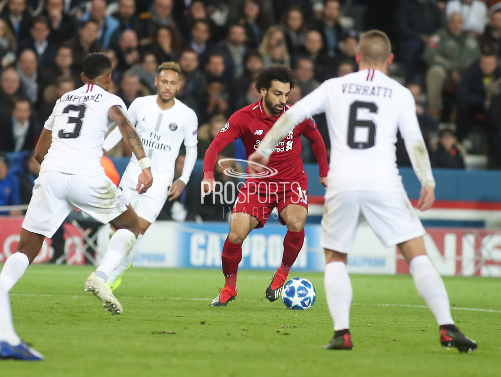 Mohamed Salah of Liverpool with the ball during the Champions League group stage match between Paris Saint-Germain and Liverpool at Parc des Princes, Paris, France on 28 November 2018.