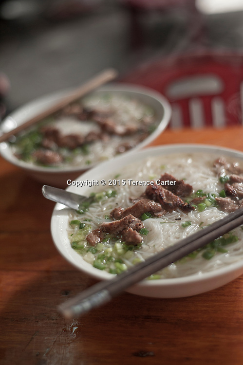 A pork noodle soup in Sapa, Vietnam.