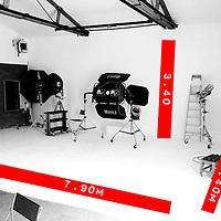 Studio general dimensions, 25ft11in X 11ft2in X 17ft8in