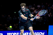 Andy Murray executes a backhand slice during the Andy Murray Live event at SSE Hydro, Glasgow, Scotland on 7 November 2017. Photo by Craig Doyle.