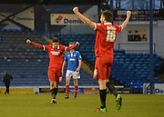 Leyton Orient players celebrate at the final whistle Leyton Orient Defender Shaun Brisley and Leyton Orient Midfielder Jobi McAnuff during the Sky Bet League 2 match between Portsmouth and Leyton Orient at Fratton Park, Portsmouth, England on 6 February 2016. Photo by Adam Rivers.