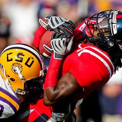 22 November 2008: LSU cornerback Ron Brooks (13) hits Mississippi cornerback Marshay Green (8) on a punt return during the first half of the NCAA football game between the Ole Miss Rebels and the LSU Tigers at Tiger Stadium in Baton Rouge, LA.