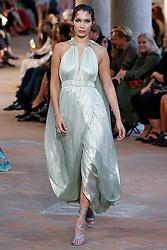 Model Bella Hadid walks on the runway during the Alberta Ferretti Fashion Show during Milan Fashion Week Spring Summer 2018 held in Milan, Italy on September 20, 2017. (Photo by Jonas Gustavsson/Sipa USA)