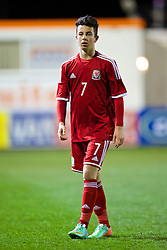 RHYL, WALES - Tuesday, March 18, 2014: Wales' Sam Phillips in action against Poland during the Under-15's International Friendly match at Belle Vue. (Pic by David Rawcliffe/Propaganda)