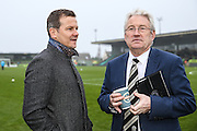 Forest Green Rovers manager, Mark Cooper and Dovers manager Chris Kinnear discuss the ongoing power cut which threatens th game during the Vanarama National League match between Forest Green Rovers and Dover Athletic at the New Lawn, Forest Green, United Kingdom on 17 December 2016. Photo by Shane Healey.