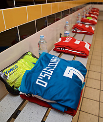 NEWPORT, WALES - Tuesday, September 3, 2019: The Wales shirts of goalkeeper Laura O'Sullivan and her team-mates in the dressing room before the UEFA Women Euro 2021 Qualifying Group C match between Wales and Northern Ireland at Rodney Parade. (Pic by David Rawcliffe/Propaganda)