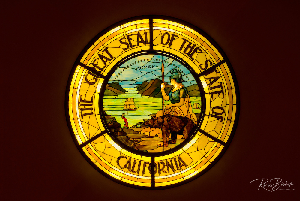 Stained glass seal of California inside the California State Capitol building, Sacramento, California