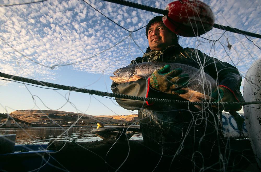 Native fisherman on the Columbia River.