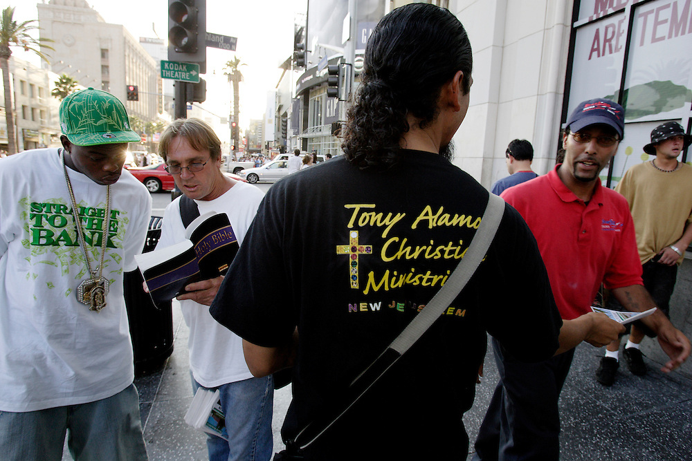 HOLLYWOOD, CA, August 15, 2007: Members of the Tony Alamo Christian Ministries pass out leaflets in an effort to recruit new members into the church. The Tony Alamo Ministry, named as a cult and a hate group by the Southern Poverty Law Center, has been recruiting along Hollywood Boulevard for several decades.  (Photo by Todd Bigelow/Aurora)