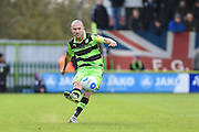 Forest Green Rovers Midfielder, Liam Noble (15) takes a free kick during the Vanarama National League match between Forest Green Rovers and Lincoln City at the New Lawn, Forest Green, United Kingdom on 19 November 2016. Photo by Adam Rivers.