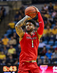 Jan 2, 2019; Morgantown, WV, USA; Texas Tech Red Raiders guard Brandone Francis (1) shoots during the first half against the West Virginia Mountaineers at WVU Coliseum. Mandatory Credit: Ben Queen-USA TODAY Sports