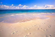 6207-1013 ~ Copyright: George H. H. Huey ~ Beach at Shoal Bay East [aka Upper Shoal Bay], with footprints in sand. Island of Anguilla, Leeward Islands, Lesser Antilles, Caribbean.