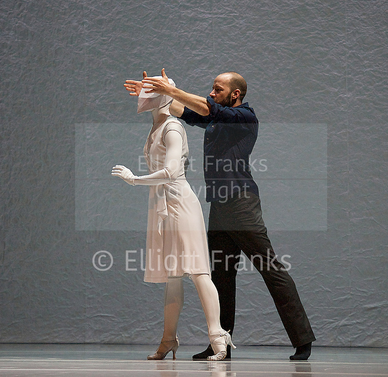 The Tempest Replica<br /> Kidd Pivot / Crystal Pite<br /> at Sadlers Wells, London, Great Britain,  press photocall, 25th April 2014. created by Crystal Pite. performed by Eric Beauchesne and Cindy Salgado.