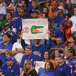 Jan 01, 2010; New Orleans, LA, USA;  A Florida Gators fan holds up a sign in the stands during the 2010 Sugar Bowl at the Louisiana Superdome. Florida defeated Cincinnati 51-24.  Mandatory Credit: Derick E. Hingle-US PRESSWIRE.
