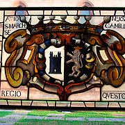 Stained glass coat of arms of the Sforza family at Sforza Castle, Milan, Italy