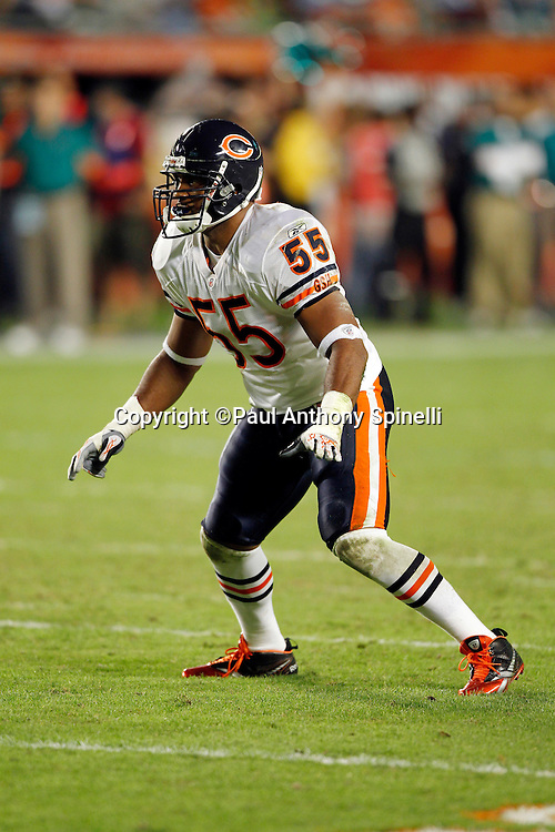 Chicago Bears linebacker Lance Briggs (55) makes a move during the NFL week 11 football game against the Miami Dolphins on Thursday, November 18, 2010 in Miami Gardens, Florida. The Bears won the game 16-0. (©Paul Anthony Spinelli)