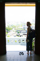 Female tourist at Golden Mount Wat Saket Bangkok Thailand&#xA;<br />