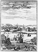 St Augustine, Florida. Copperplate engraving from Allain Manesson Mallet 'Description de l'Univers ?' Frankfurt-am-Main, 1686.