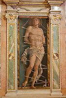 Fresco of St. Sebastian full of arrows in a church in Venice, Italy.