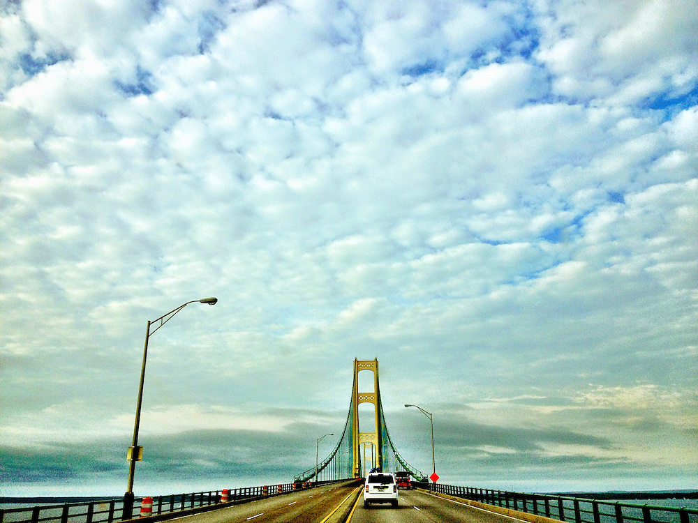 Driving over the Mackinac Bridge which connects Michigan's Upper and Lower Peninsulas at the Straits of Mackinac.