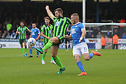 AFC Wimbledon defender Jon Meades (3) and Peterborough United striker Marcus Maddision (11) tussle during the EFL League 1 match between Peterborough United and AFC Wimbledon at ABAX Stadium, London Road, Peterborough, England on 22 October 2016. Photo by Stuart Butcher.