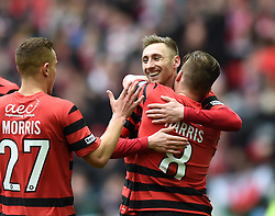 Wrexham's Louis Moult celebrates his goal against North Ferriby United - Photo mandatory by-line: Paul Knight/JMP - Mobile: 07966 386802 - 29/03/2015 - SPORT - Football - London - Wembley Stadium - North Ferriby United v Wrexham - FA Trophy