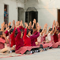 Children preparing for a school day at Udaipur
